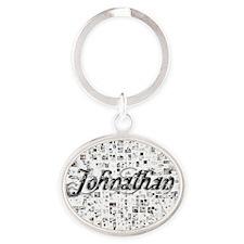 Johnathan, Matrix, Abstract Art Oval Keychain