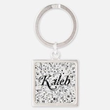 Kaleb, Matrix, Abstract Art Square Keychain