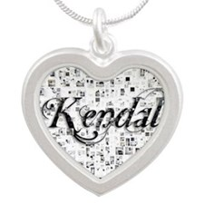 Kendall, Matrix, Abstract Ar Silver Heart Necklace