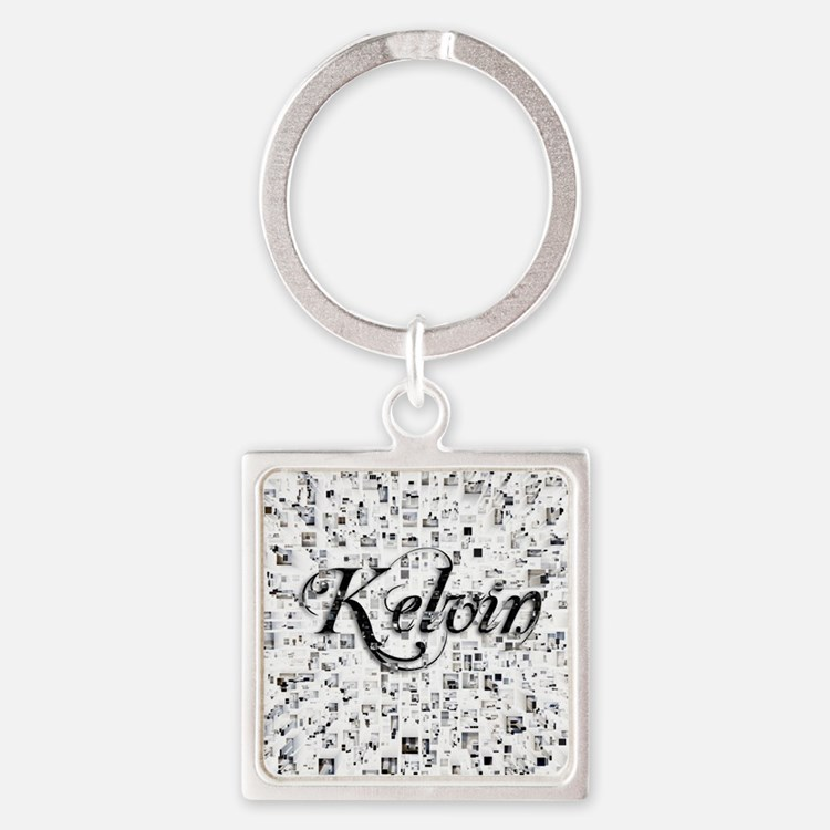 Kelvin, Matrix, Abstract Art Square Keychain