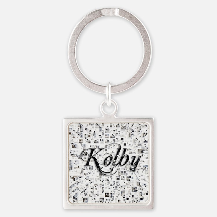 Kolby, Matrix, Abstract Art Square Keychain