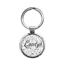 Landyn, Matrix, Abstract Art Round Keychain