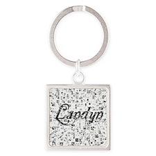 Landyn, Matrix, Abstract Art Square Keychain