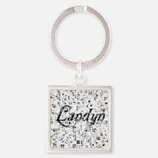 Landyn, Matrix, Abstract Art Square Keychain