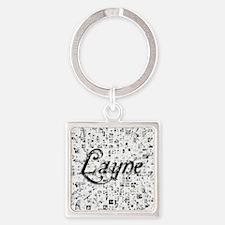 Layne, Matrix, Abstract Art Square Keychain