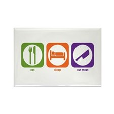 Eat Sleep Cut Meat Rectangle Magnet
