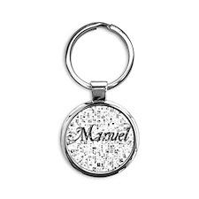 Manuel, Matrix, Abstract Art Round Keychain