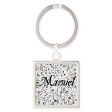 Manuel, Matrix, Abstract Art Square Keychain
