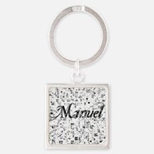 Manuel, Matrix, Abstract Art Square Keychain