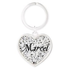 Marcel, Matrix, Abstract Art Heart Keychain