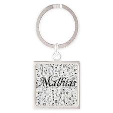 Mathias, Matrix, Abstract Art Square Keychain