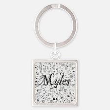 Myles, Matrix, Abstract Art Square Keychain