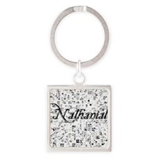 Nathanial, Matrix, Abstract Art Square Keychain