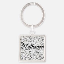 Nathanael, Matrix, Abstract Art Square Keychain