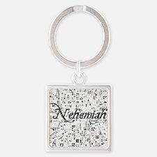 Nehemiah, Matrix, Abstract Art Square Keychain
