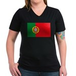 Portugal Flag, Portuguese Fla Women's V-Neck Dark