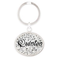Quinton, Matrix, Abstract Art Oval Keychain