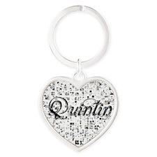 Quintin, Matrix, Abstract Art Heart Keychain