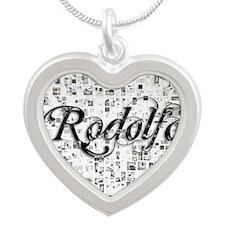 Rodolfo, Matrix, Abstract Ar Silver Heart Necklace
