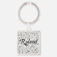 Ryland, Matrix, Abstract Art Square Keychain
