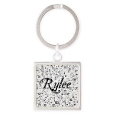 Rylee, Matrix, Abstract Art Square Keychain