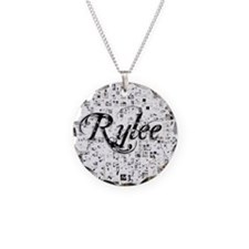 Rylee, Matrix, Abstract Art Necklace Circle Charm