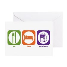 Eat Sleep Social Work Greeting Cards (Pk of 10