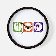Eat Sleep Social Work Wall Clock