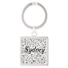Sydney, Matrix, Abstract Art Square Keychain