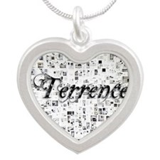 Terrence, Matrix, Abstract A Silver Heart Necklace