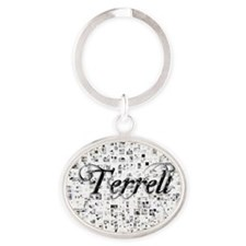 Terrell, Matrix, Abstract Art Oval Keychain