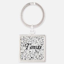 Tomas, Matrix, Abstract Art Square Keychain
