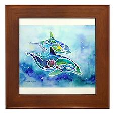 Whimzical Danube Dolphins Framed Tile