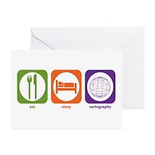 Eat Sleep Cartography Greeting Cards (Pk of 10