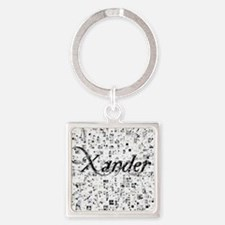 Xander, Matrix, Abstract Art Square Keychain