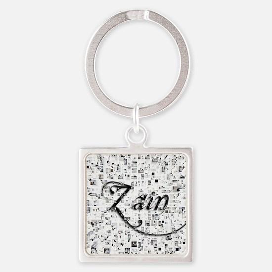 Zain, Matrix, Abstract Art Square Keychain
