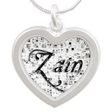 Zain, Matrix, Abstract Art Silver Heart Necklace