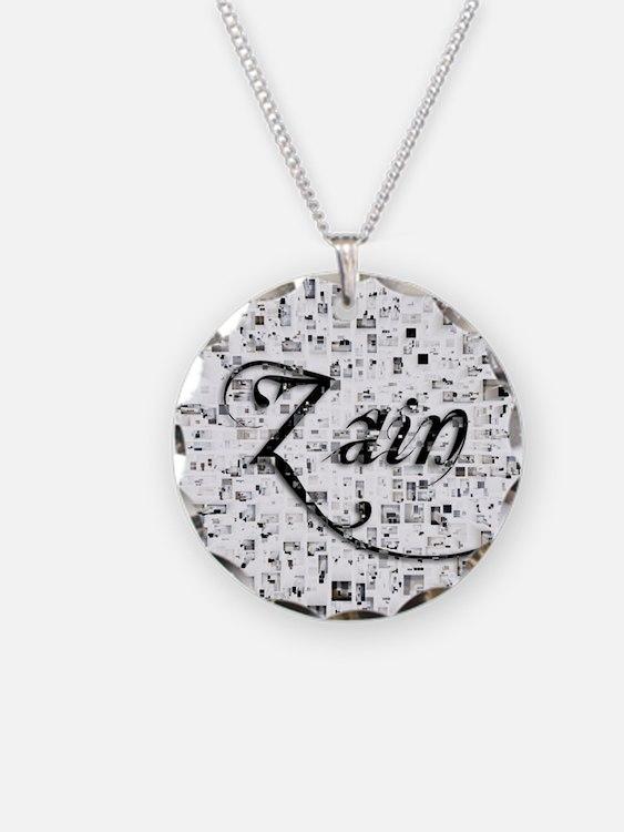 Zain, Matrix, Abstract Art Necklace Circle Charm