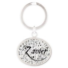 Zavier, Matrix, Abstract Art Oval Keychain
