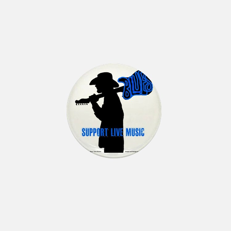 Tom Sillouette with BLUES-Support Live Mini Button