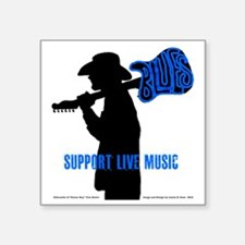 "Tom Sillouette with BLUES-S Square Sticker 3"" x 3"""