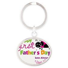 Ladybug 1st Fathers Day Oval Keychain
