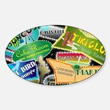 RETRO NIGHT CLUBS TOILETRY BAG Sticker (Oval)