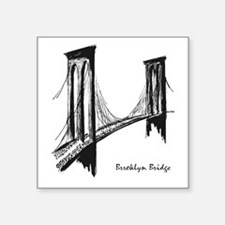 "Brooklyn Bridge Square Sticker 3"" x 3"""