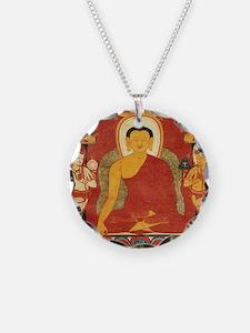 Vintage Buddha Necklace Circle Charm