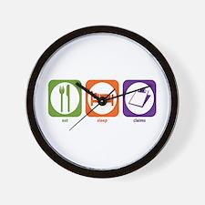 Eat Sleep Claims Wall Clock
