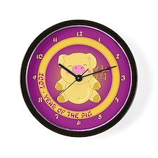 2007 Golden Pig Wall Clock