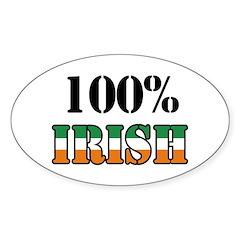 100 Percent Irish Oval Sticker