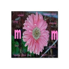"Flower Mom Square Sticker 3"" x 3"""
