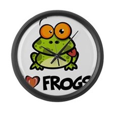 ILoveFrogs6 Large Wall Clock